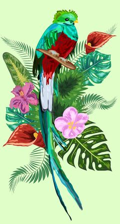 Watercolor green quetzal bird with a long tail with splashes. Symbol of freedom.