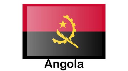 Flag of Angola.Angola Icon illustration,National flag for country of Angola isolated, banner Illusztráció