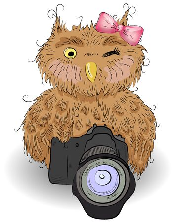 Cute brown owl with a camera and bow, hand-drawing, watercolor, sketch