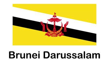 Brunei Darussalam Flag Button. icon flag of Brunei Darussalam on white background.
