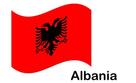 Albania national flag, official colors and proportion correctly. 向量圖像