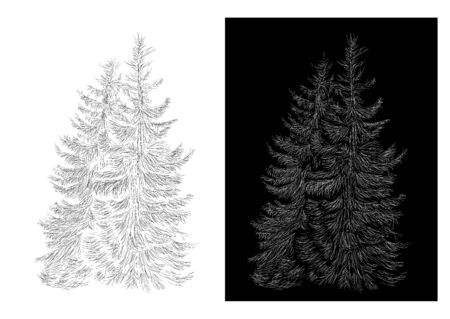 Abstract christmas tree with hand sketch line, illustration for xmas