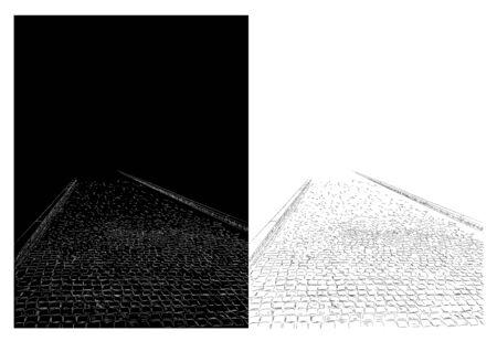 Hand drawn image of paving stones, sidewalk, small gray bricks, sketch. 向量圖像