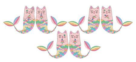 Set of cute cat mermaids isolated on white background. Doodle illustration.
