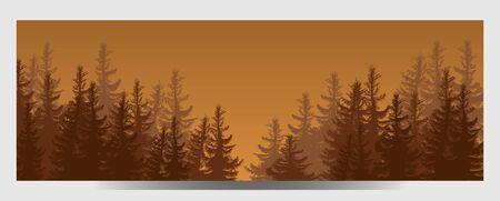 illustration of Coniferous Forest. Travel infographic. Forest silhouette, banner Illusztráció