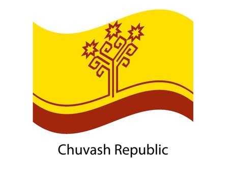Chuvashia flag. The national flag of Chuvashia on a pole. The sign and symbol of the country. Flag in the wind