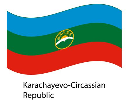 flag of karachay-cherkessia icon illustration, symbol federal subject of Russia. Flag in the wind