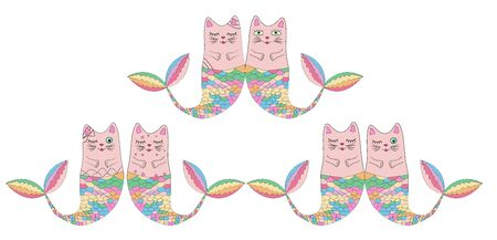 Set of cute cat mermaids isolated on white background. Doodle illustration.