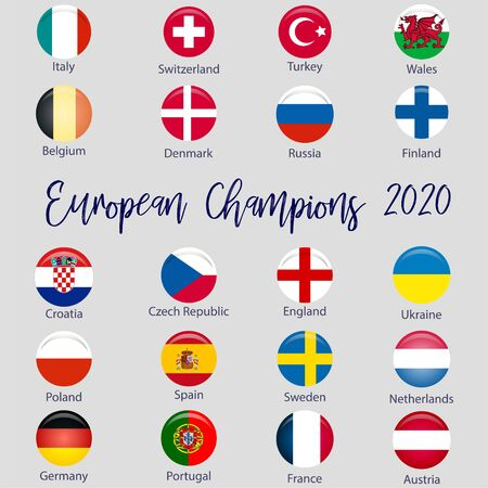 Flags of countries participating in the European Football Championship 2020, soccer ball Ilustrace