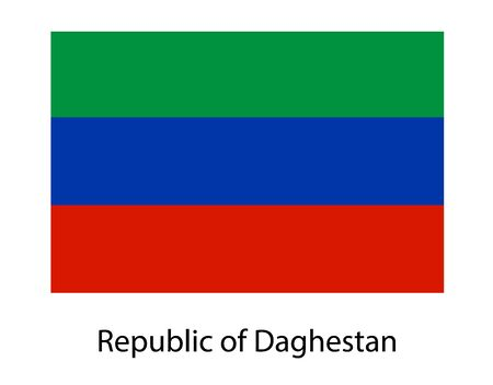Flag of Dagestan Republic and information text poster, Dagestan flag template design.