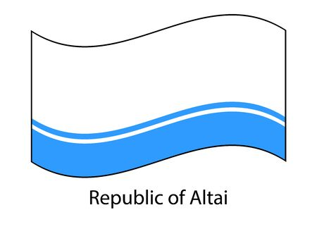 Flag of Altai Republic, Russia. Russian federation state. Altai Republic, Gorno-Altaisk. Flag in the wind  イラスト・ベクター素材