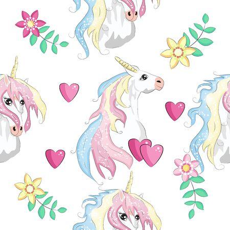 Naadloze patroon met trendy cartoon patches. Eenhoorns, regenbogen en harten Vector Illustratie