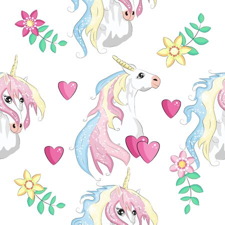 Patrón sin fisuras con parches de dibujos animados de moda. Unicornios, arcoiris y corazones Ilustración de vector