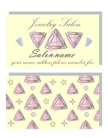 Business Identity - business card template with front side with logo - black diamond, crystal, text and back side with pattern with precious stones. Vectores