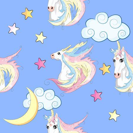 Patrón sin fisuras con parches de dibujos animados de moda. Unicornios, arcoiris y corazones