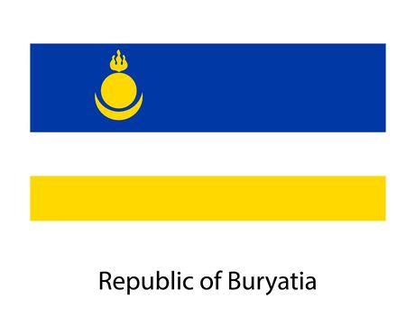 Buryatia Republic national flag on white background texture. illustration, symbol federal subject of Russia.