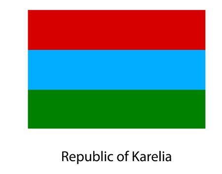 Republic of Karelia flag, isolated on white background. Russia oblast flag illustration. Russian federation.