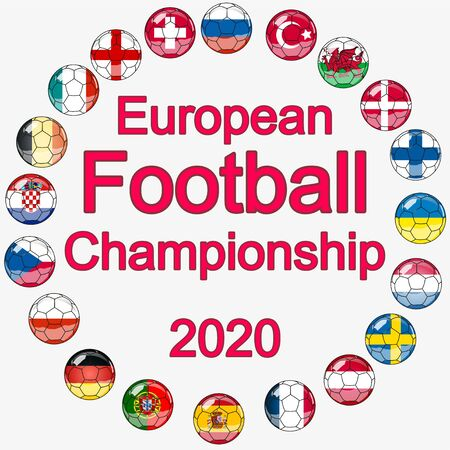 Flags of countries participating in the European Football Championship 2020, soccer ball.
