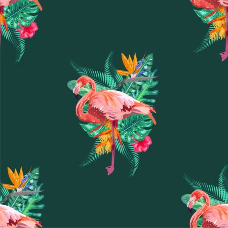 Tropical bird pink flamingo and banana palm leaves in trendy blue style and flowers hibiscus, frangipani, orchid. Seamless pattern