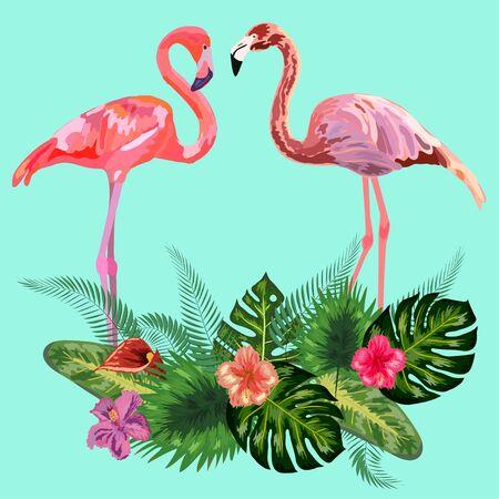 Decorado con exóticas hojas de monstera de palmera de selva tropical y un par de pájaros flamencos rosados Ilustración de vector