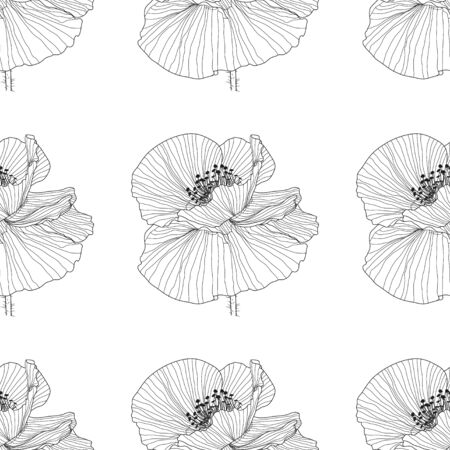 seamless pattern of black and white poppies.