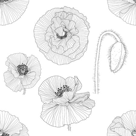 seamless pattern of black, gold, red and white poppies