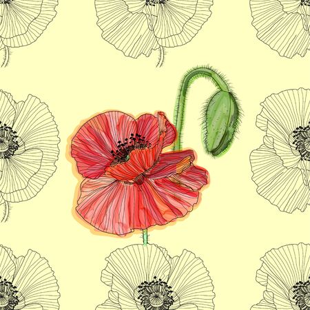 Floral background with poppies. seamless pattern. Flourish seamless textured wallpaper for greeting card. 일러스트