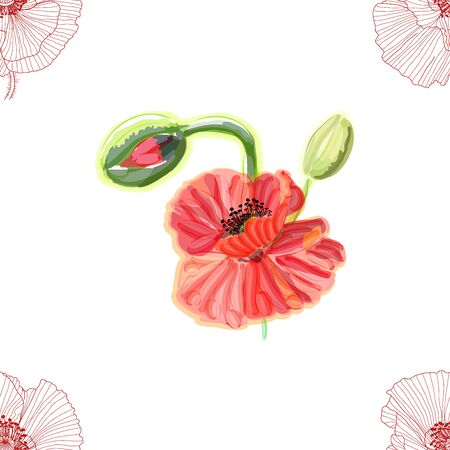 Floral seamless pattern. Poppies background. Floral seamless texture with flowers. 일러스트