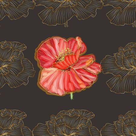 Retro pattern of golden poppies. Art Nouveau seamless ornament. Ilustração