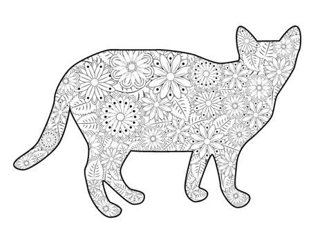 Malbuch Magische Katze für Erwachsene. Handgezeichnete künstlerisch ethnische Verzierung mit gemusterter Illustration.