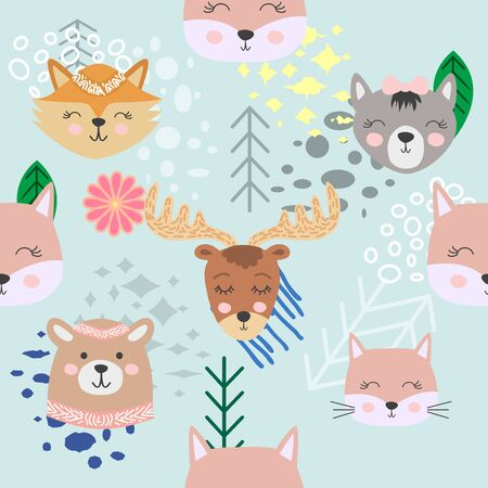 Autumn forest seamless pattern with cute animals.