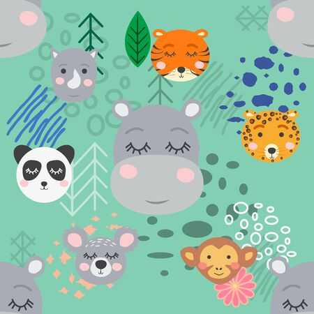 forest animal seamless pattern.hand drawn illustration. design, fashion print.