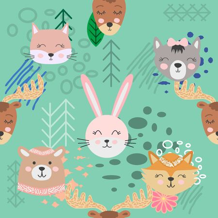 Hand drawn camping seamless pattern with cartoon characters. Foto de archivo - 138235035
