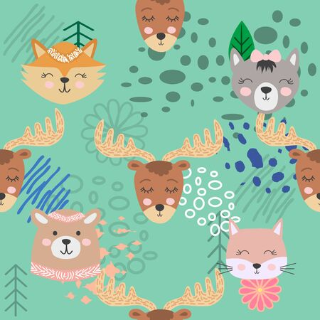 Hand drawn camping seamless pattern with cartoon characters. Foto de archivo - 138235057
