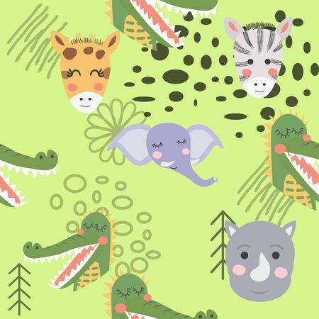 Cartoon cute animal tribal faces. Boho cute animals pattern.