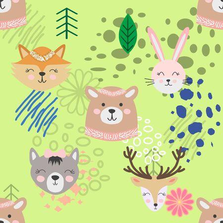 Autumn forest seamless pattern with cute animals. Vektoros illusztráció