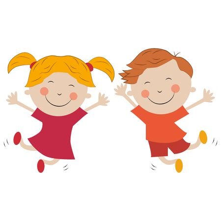 Boy and girl jumping for joy isolated on white background