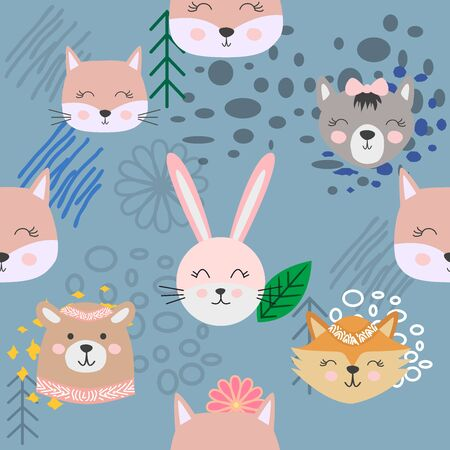 Hand drawn camping seamless pattern with cartoon characters. Foto de archivo - 138235152