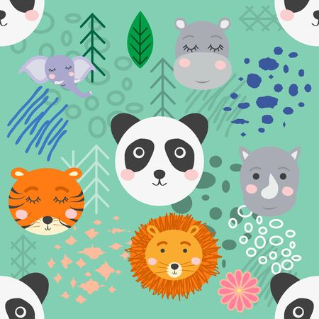 forest animal seamless pattern.hand drawn illustration. design, fashion print