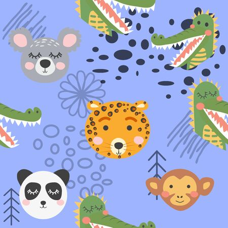 Cute hand drawn seamless pattern with wild animals in scandinavian style.
