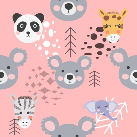 Cute hand drawn nursery seamless pattern with wild animals in scandinavian style.