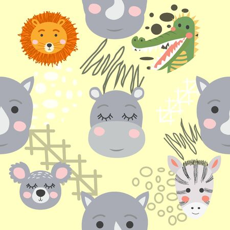 Seamless pattern with rhinoceros, elephant, crocodile, whale. Creative bay animals background. Perfect for kids Stock Vector - 138241151