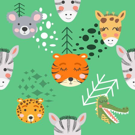 Seamless pattern with rhinoceros, elephant, crocodile, whale. Creative bay animals background. Perfect for kids