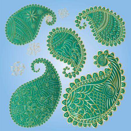 Five unique paisley elements in trendy green and gold colors Ilustración de vector