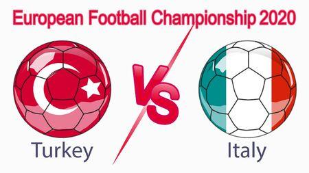 2020 European Football Championship, banner, web design, match between Turkey and Italy