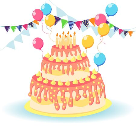 Cake birthday with candles and cream, with garlands and balls and salute, holiday concept, greeting card Stock Illustratie