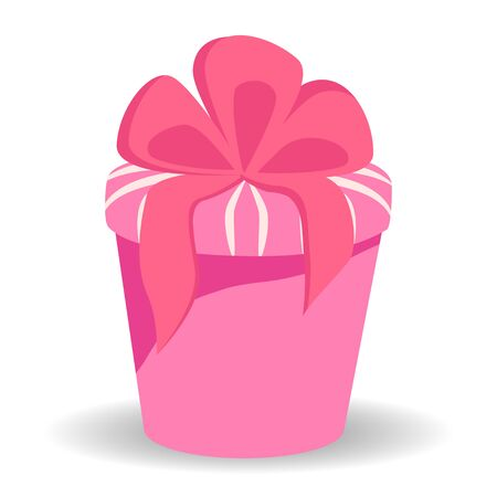 Beautiful present box with overwhelming bow. Gift box icon. Gift symbol. Christmas gift box.