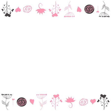 Delicate background, frame, scrapbook, with pink flowers, roses, balls and hearts Girl pink