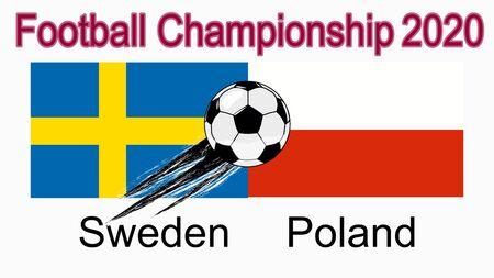 2020 European Football Championship, banner, web design, match between Sweden and Poland.