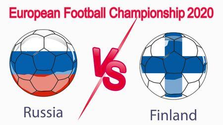 2020 European Football Championship, banner, web design, match between Russia and Finland.